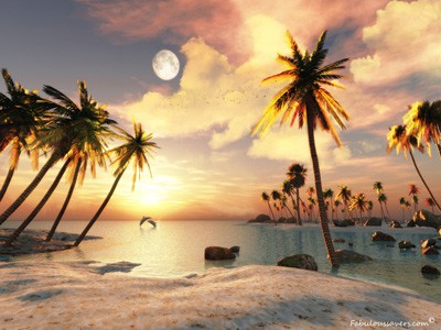 Free Beautiful 3D Beach, computer desktop wallpapers, pictures, images